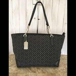 Coach neddlepoint canvas/leather tote